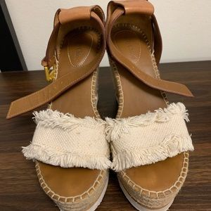 See By Chloé Glyn Leather & Frayed Canvas Wedges